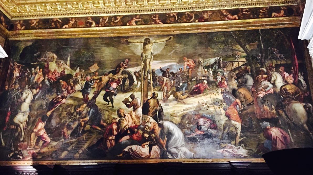 Crucifixión, Tintoretto, 1565. Sala del Albergo, Scuola Grande de San Marco