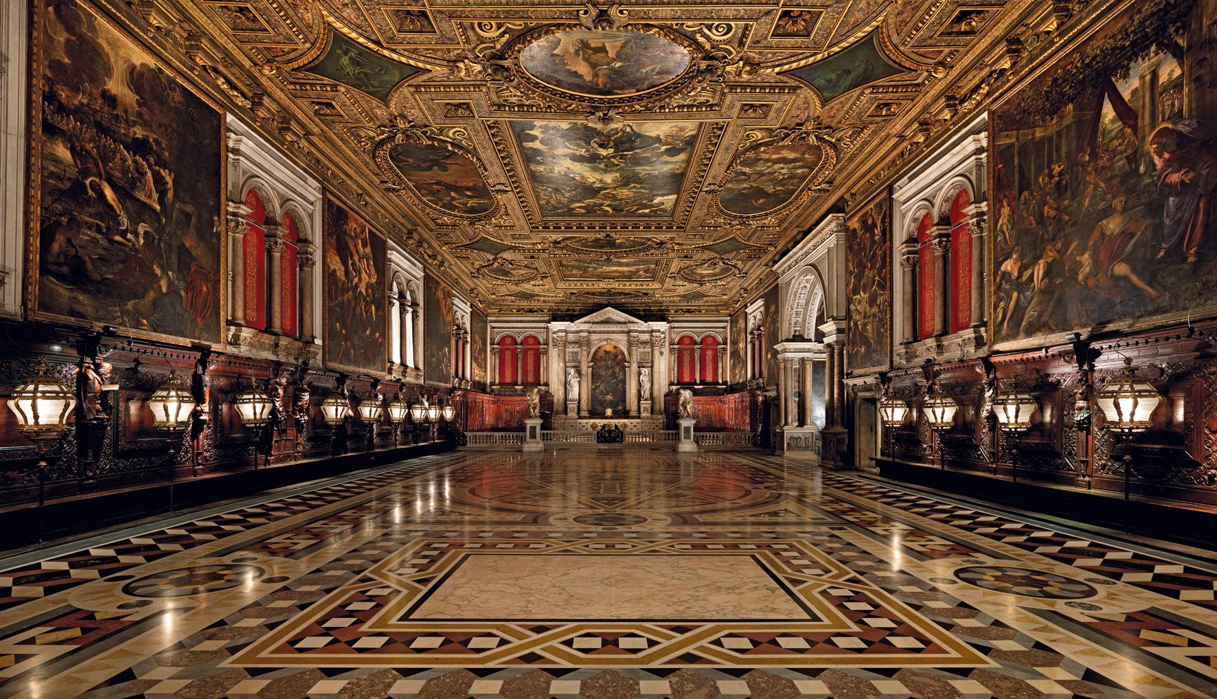Sala Superiore, Scuola Grande de San Rocco, decorada en sus paredes y techos por Tintoretto