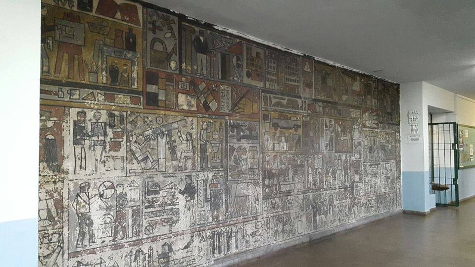 Mural Oficios, Julio Alpuy, 1955. Liceo N.3 Dámaso Antonio Larrañaga