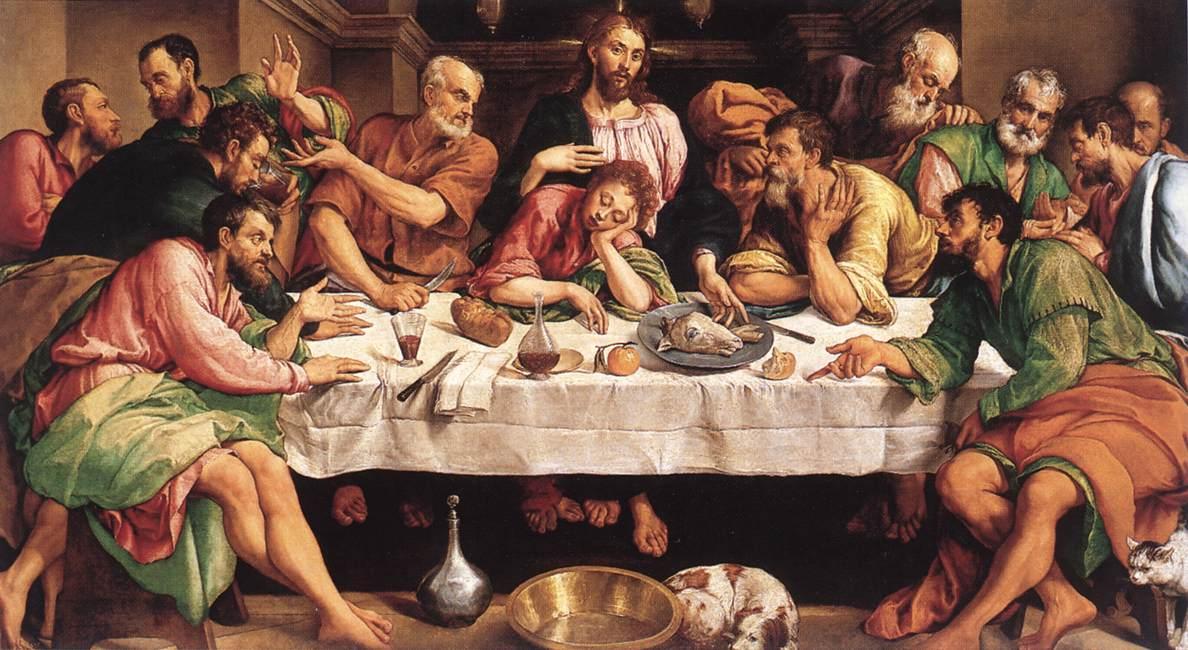 Última Cena, Jacopo Bassano, 1542. Galería Borghese, Roma