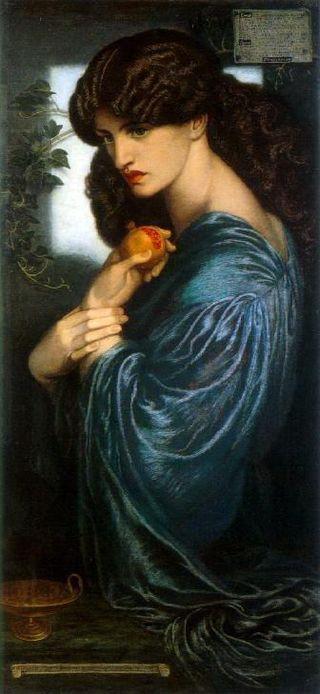 Proserpina con la granada, Dante Gabriel Rossetti, 1874. Tate Gallery, Londres.