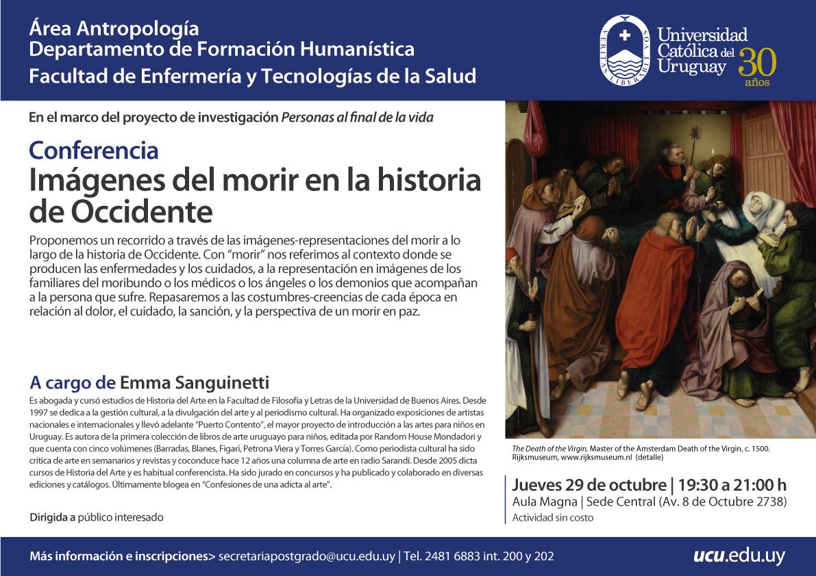 """Invitación para la Conferencia """"Imagenes del morir en la historia de Occidente"""""""
