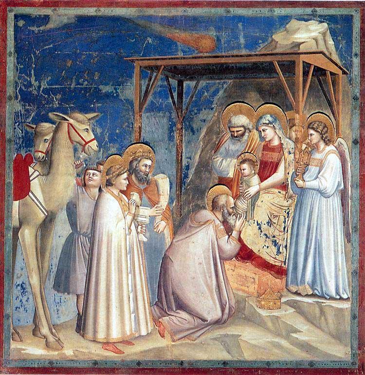 La Adoración de los Reyes Magos, Giotto, 1305. Capilla Scrovegni, Padua